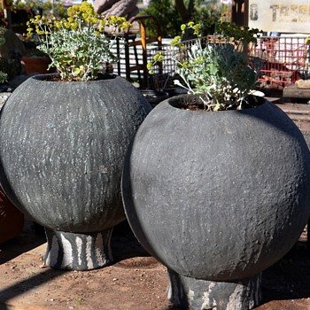Two very large and modern ceramic planters
