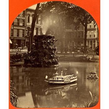 E.B. Nock (Photographer) Advertising Model Riverboat Stereoview. 1880s - Photographs