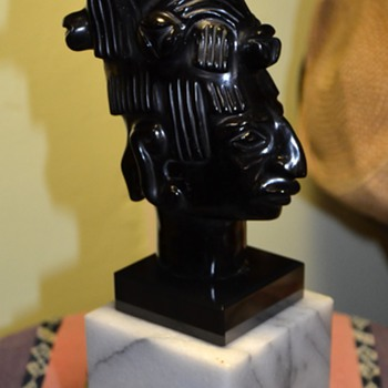 Beautiful Carved Obsidian Bust of a Mayan or Aztec Priest [?] - Fine Art