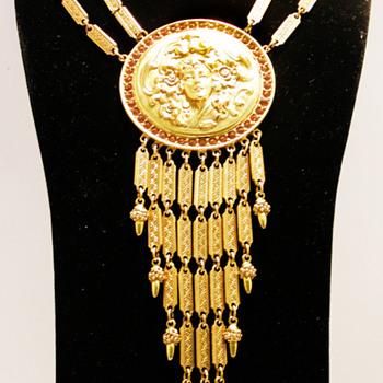 Vintage Goldette N.Y. Victorian Cameo Fringe Festoon - Costume Jewelry