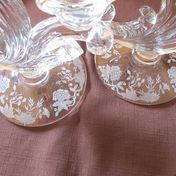 Etched Glass Candle holders - Glassware