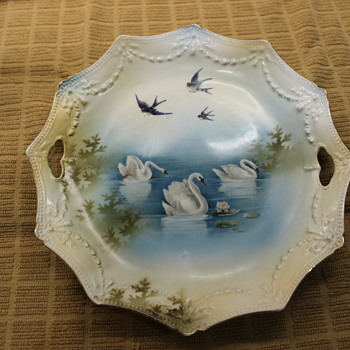 Swans & Swallows - R.S. Prussia Cake Plate - China and Dinnerware