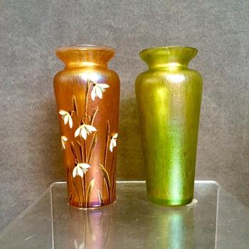 Kralik Peach & Green Pair Oils Spot Vases - Art Glass