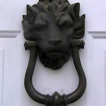 Antique Brass Lion Head Doorknocker - Victorian Era