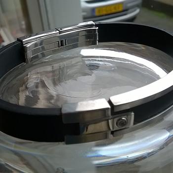"""FOSSIL STEEL"" Brand Stainless Steel & Leather Bracelet Flea Market Find 50 Cents"