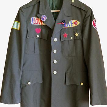 Vietnam War Era Hippie Patched Army Jacket - Mens Clothing