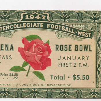 1947 Rose Bowl Ticket Stub