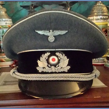 Rare visor cap of an officer of the Nazi Bahnschutzpolizei, or Railway Protection Police - Military and Wartime