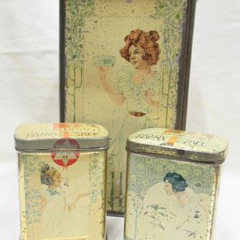 "Superb designed Victorian ""RAJAH"" Tea tins by artist Henri Meunier 1897  - Advertising"