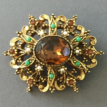 Ornate Art Rhinestone Brooch  - Costume Jewelry