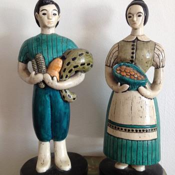 Folk-Style Farmer Figurines - Folk Art