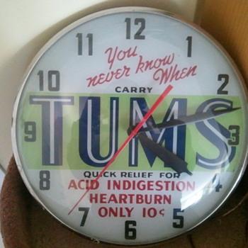 TUMS illuminated advertising display clock by Telechron - Clocks