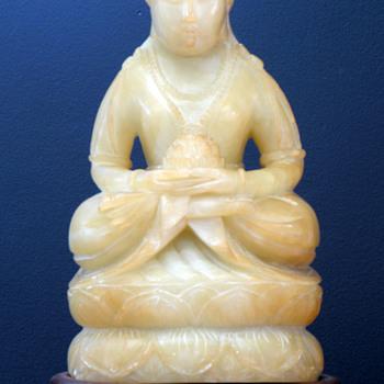 """Chinese White Jade Statue 10"""" High"""