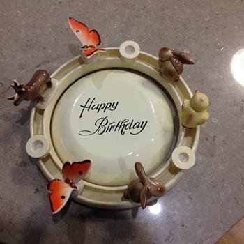 Happy Birthday Cake Plate + ring with Animals - China and Dinnerware