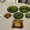 Vintage 1960's / 1970's Viking Green Glass Ashtrays Thanksgiving Day Rescue