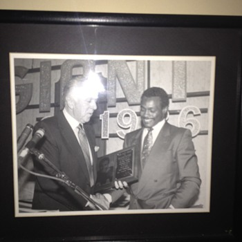 Walter Payton being presented the Giant Award by my grandfather