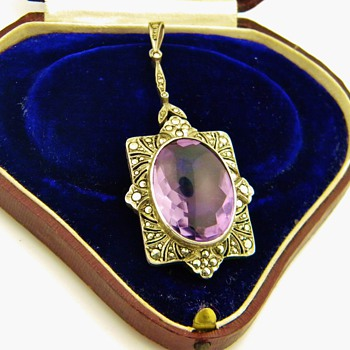 Antique Amethyst Marcasite Sterling Lavaliere Pendant Germany - Fine Jewelry