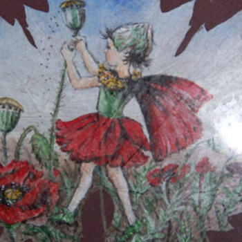 Leaf painted oil or acrylic signed C.M.Barker Fairy - Art Nouveau