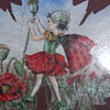 Leaf painted oil or acrylic signed C.M.Barker Fairy