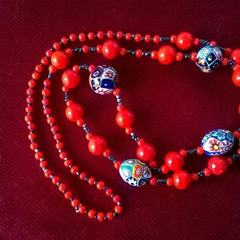 Vintage Venetian Murano Milifori Glass & Hematite Necklace 1960s/1970s? - Costume Jewelry