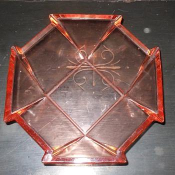 Pink Depression Glass Octagonal Bowl - Glassware