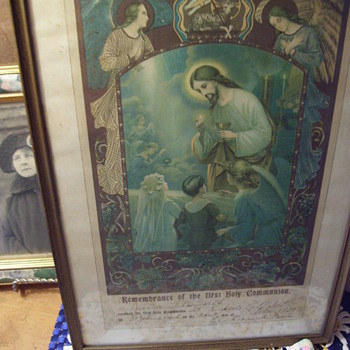 1922 Ist Communion,Paperwork framed. Jesus, Angels and Children, 14X 10,  Rapid City Illinois - Fine Art