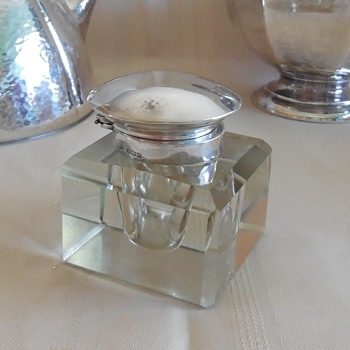 English Crystal and Sterling Inkwell. From Flea Market Finds! :^) - Pens