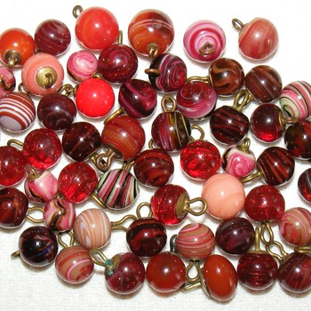 "Glass and Agate Waistcoat Ball Buttons - 7/16""ish - Sewing"
