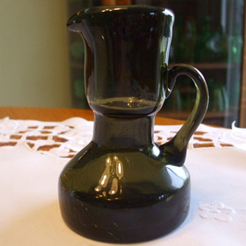 Weird Little Blown Olive Green Pitcher- Scandinavian? - Art Glass