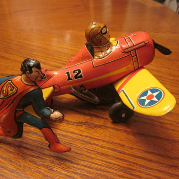 1940 Louis Marx Superman Rollover Plane Wind-Up Toy With Original Box... - Toys