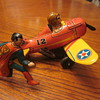 1940 Louis Marx Superman Rollover Plane Wind-Up Toy With Original Box...