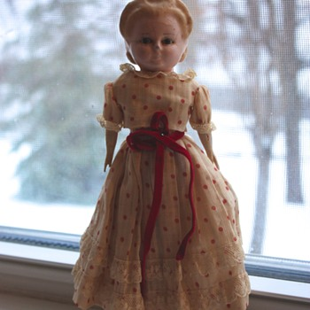 Circa Mid-1800s Wax Over Papier-Mâché Pumpkin Head Doll - Dolls