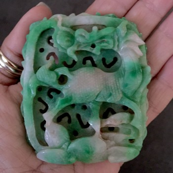 Antique Chinese Qilin Carved Apple Green Jade/ Jadeite Pentant  - Asian