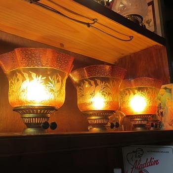 19th century cameo lamp shades