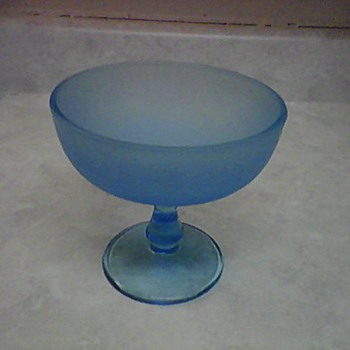 TURQUOISE PEDESTAL BOWL - Art Glass