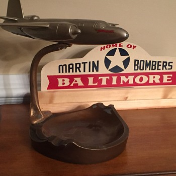 Vintage Martin Aircraft Display with Original Martin B-26 Marauder Bomber and original Martin License Topper - Advertising