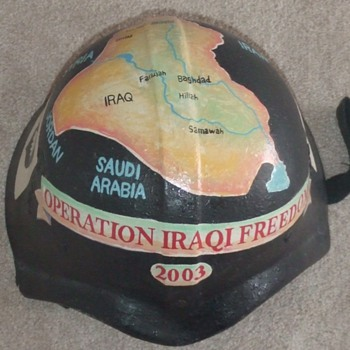 Trench Art Painted Iraqi Fedayeen Helmet (OIF) - Folk Art