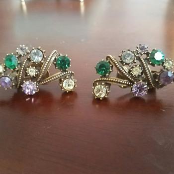 Vintage Purple, Green, Pink/White Rhinestone Clip Earrings
