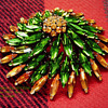 RARE SHERMAN 4 TIER GREEN & AMBER LARGE PINWHEEL BROOCH & LARGE PINK RARE SHERMAN JEWEL BOX
