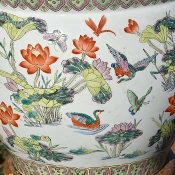 Large Porcelain Fish Bowl - Asian
