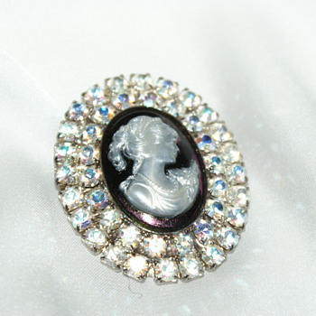 Costume Cameo with AB Rhinestones - Costume Jewelry