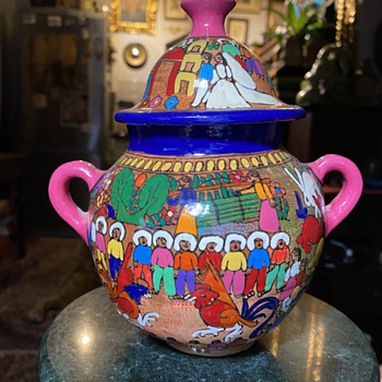 Very Colorful Mexican Covered Jar - Pottery