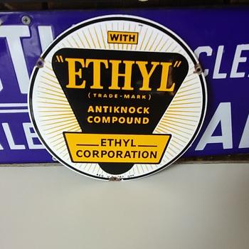 EHTYL porcelain gasoline additive gas pump sign - Petroliana