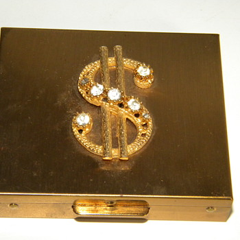 Vintage Deco Rhinestone Ladies Money Holder Goldtone - Accessories