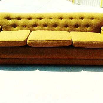 Mid-Century Orange Sofa - Furniture
