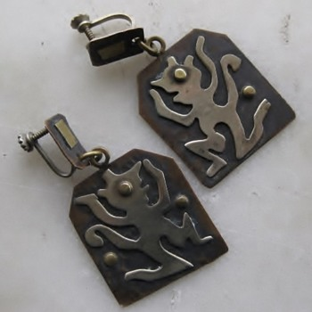 Mid-century Mexico dancing demon? earrings - Fine Jewelry