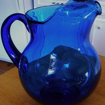 Blenko Cobalt Pitcher of Unknown Age - Art Glass