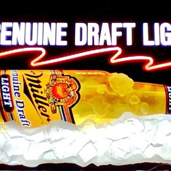 Miller Light MGD Lighted 3D Beer Sign! - Breweriana