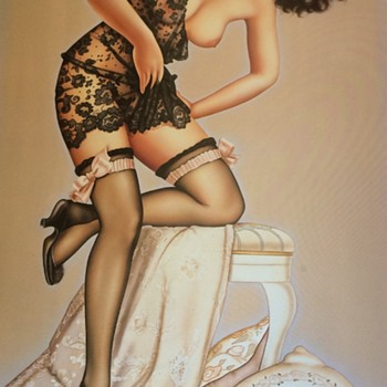 Sexy 1980s Olivia Pin Up Art - Posters and Prints