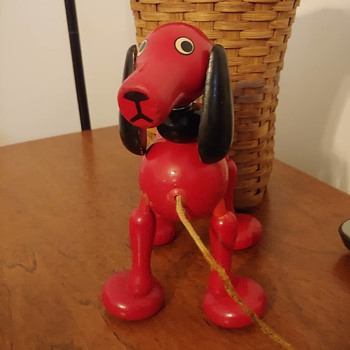 Red Dog Wooden Pull Toy - Toys